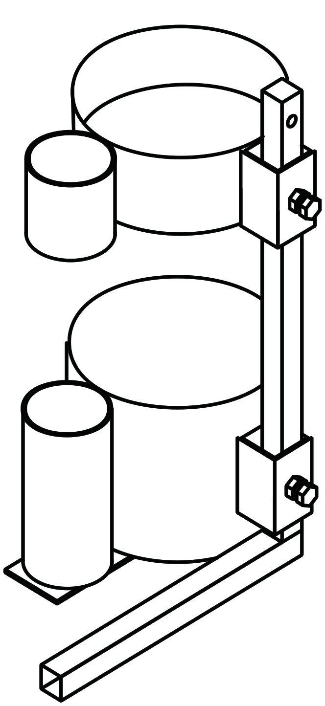 oxygen tank holder rear with cane holder drawing