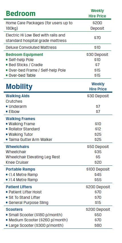 Hire Prices Page 1