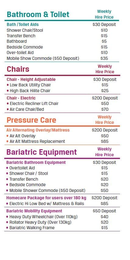 Hire Prices Page 2